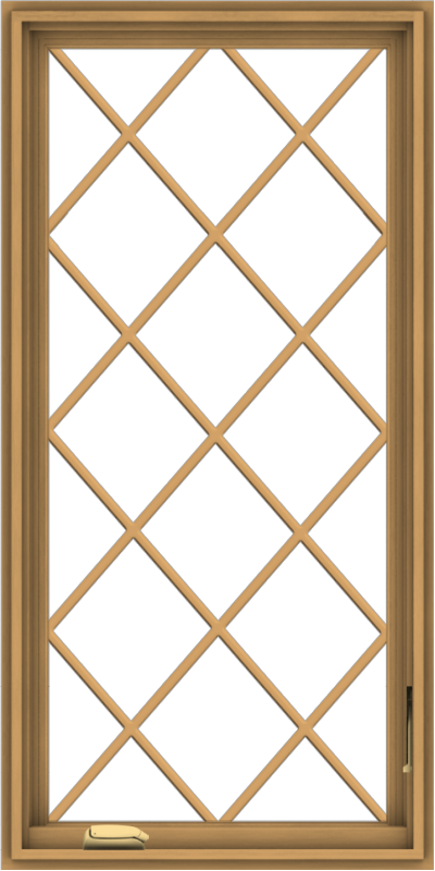 WDMA 24x48 (23.5 x 47.5 inch) Pine Wood Dark Grey Aluminum Crank out Casement Window without Grids with Diamond Grills