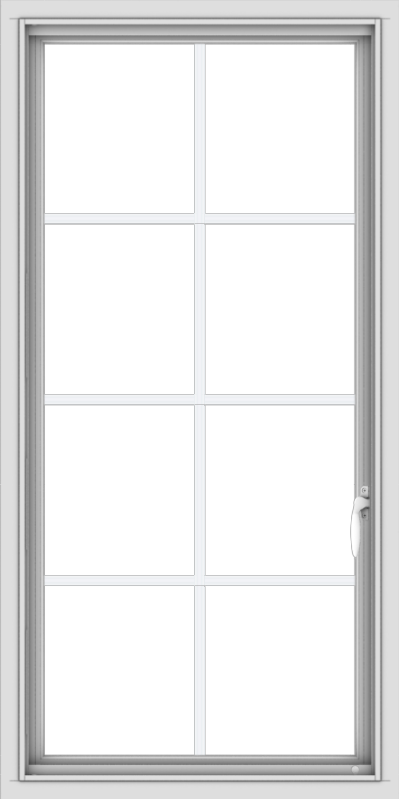 WDMA 24x48 (23.5 x 47.5 inch) uPVC Vinyl White push out Casement Window with Colonial Grids