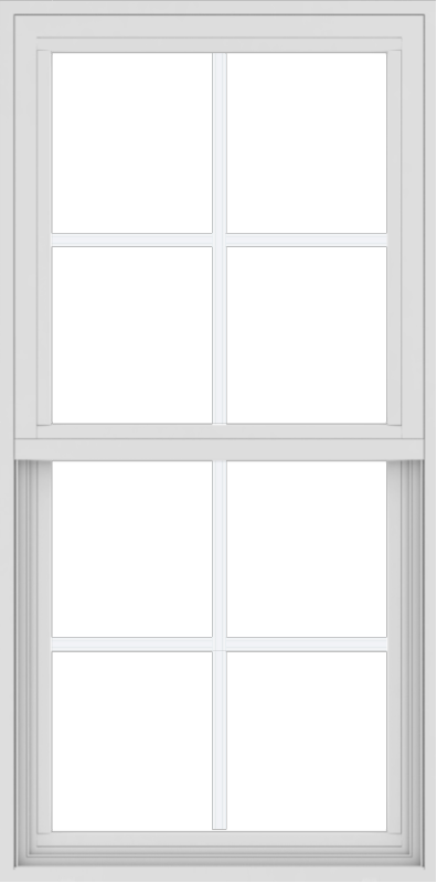 WDMA 24x48 (17.5 x 47.5 inch) Vinyl uPVC White Single Hung Double Hung Window with Colonial Grids Exterior