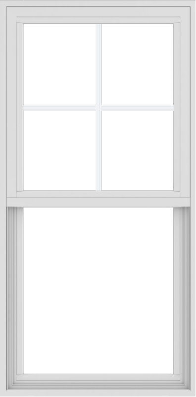 WDMA 24x48 (23.5 x 47.5 inch) Vinyl uPVC White Single Hung Double Hung Window with Top Colonial Grids Exterior