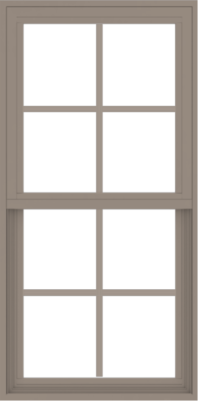 WDMA 24x48 (23.5 x 47.5 inch) Vinyl uPVC Brown Single Hung Double Hung Window with Colonial Grids Exterior