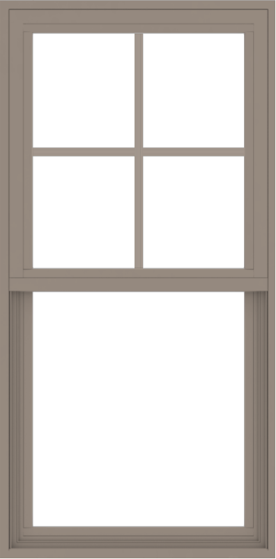 WDMA 24x48 (23.5 x 47.5 inch) Vinyl uPVC Brown Single Hung Double Hung Window with Top Colonial Grids Exterior