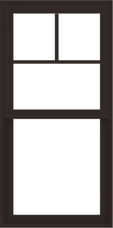 WDMA 24x48 (23.5 x 47.5 inch) Vinyl uPVC Dark Brown Single Hung Double Hung Window with Fractional Grids Interior