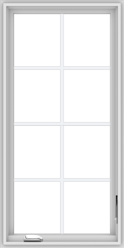 WDMA 24x48 (23.5 x 47.5 inch) White Vinyl uPVC Crank out Casement Window with Colonial Grids