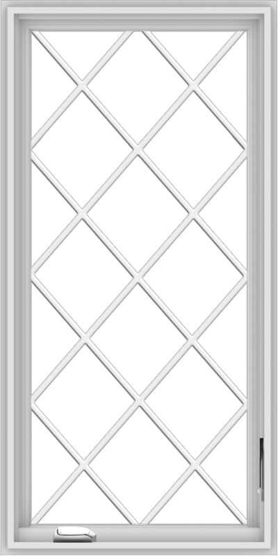 WDMA 24x48 (23.5 x 47.5 inch) White Vinyl uPVC Crank out Casement Window without Grids with Diamond Grills