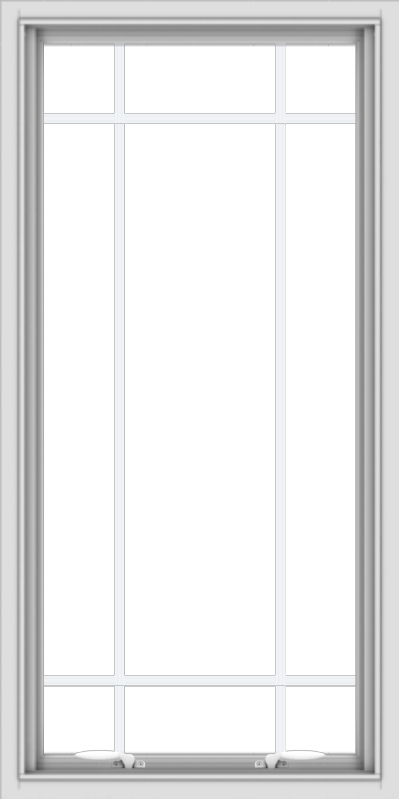 WDMA 24x48 (23.5 x 47.5 inch) White uPVC Vinyl Push out Awning Window with Prairie Grilles