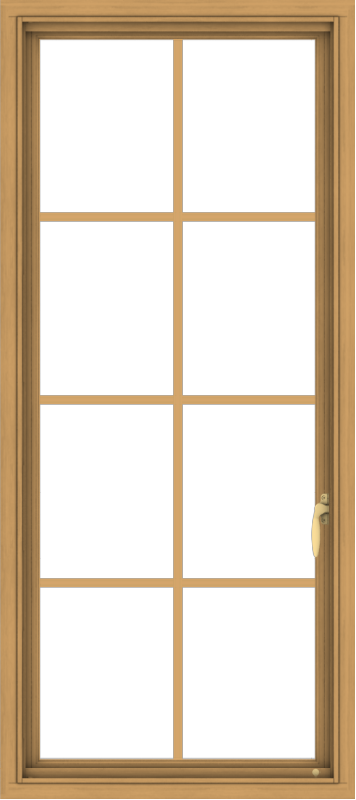 WDMA 24x54 (23.5 x 53.5 inch) Pine Wood Light Grey Aluminum push out Casement Window with Colonial Grids
