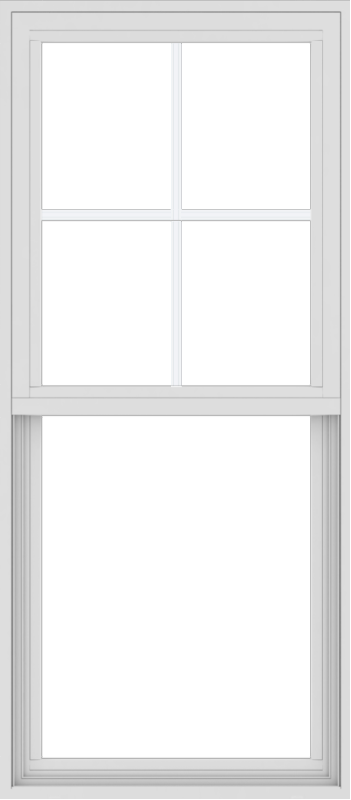 WDMA 24x54 (23.5 x 53.5 inch) Vinyl uPVC White Single Hung Double Hung Window with Top Colonial Grids Exterior
