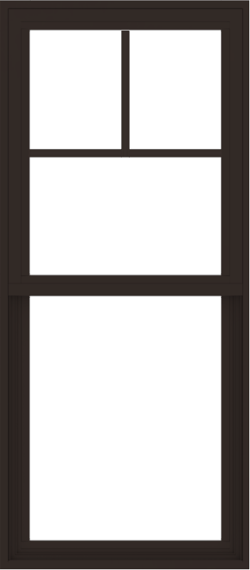 WDMA 24x54 (23.5 x 53.5 inch) Vinyl uPVC Dark Brown Single Hung Double Hung Window with Fractional Grids Interior