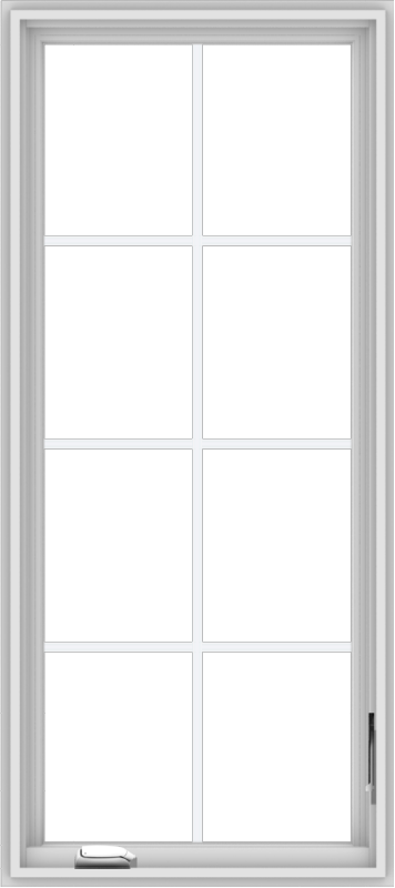 WDMA 24x54 (23.5 x 53.5 inch) White Vinyl uPVC Crank out Casement Window with Colonial Grids
