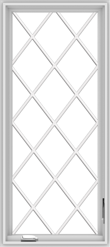 WDMA 24x54 (23.5 x 53.5 inch) White Vinyl uPVC Crank out Casement Window without Grids with Diamond Grills