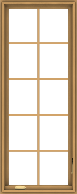 WDMA 24x60 (23.5 x 59.5 inch) Pine Wood Dark Grey Aluminum Crank out Casement Window with Colonial Grids