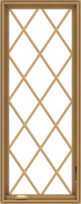 WDMA 24x60 (23.5 x 59.5 inch) Pine Wood Dark Grey Aluminum Crank out Casement Window without Grids with Diamond Grills