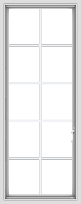 WDMA 24x60 (23.5 x 59.5 inch) White Vinyl uPVC Push out Casement Window with Colonial Grids