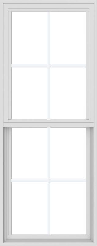 WDMA 24x60 (17.5 x 59.5 inch) Vinyl uPVC White Single Hung Double Hung Window with Colonial Grids Exterior