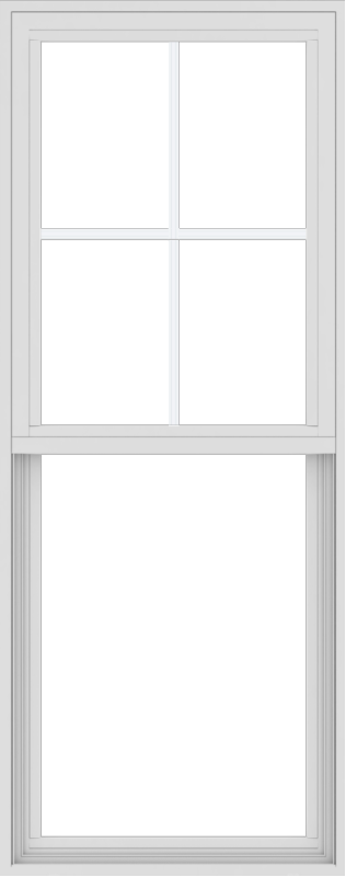WDMA 24x60 (23.5 x 59.5 inch) Vinyl uPVC White Single Hung Double Hung Window with Top Colonial Grids Exterior