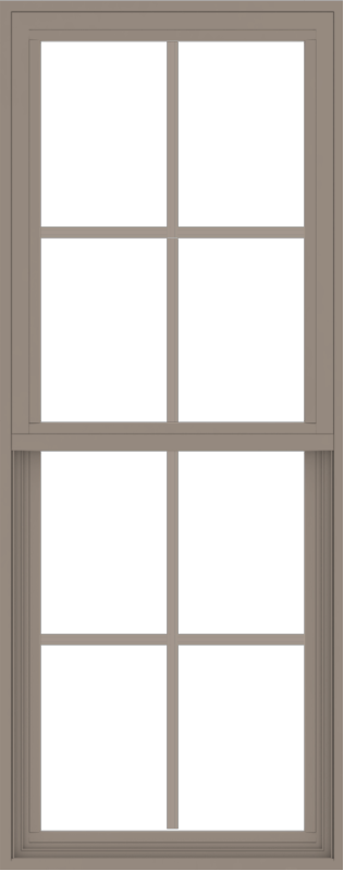 WDMA 24x60 (23.5 x 59.5 inch) Vinyl uPVC Brown Single Hung Double Hung Window with Colonial Grids Exterior
