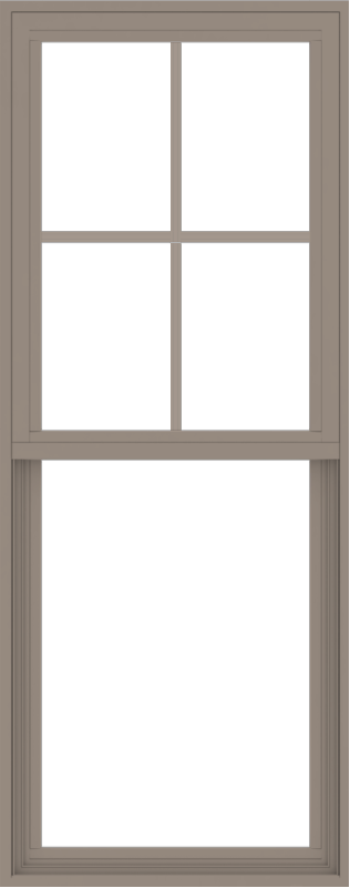 WDMA 24x60 (23.5 x 59.5 inch) Vinyl uPVC Brown Single Hung Double Hung Window with Top Colonial Grids Exterior