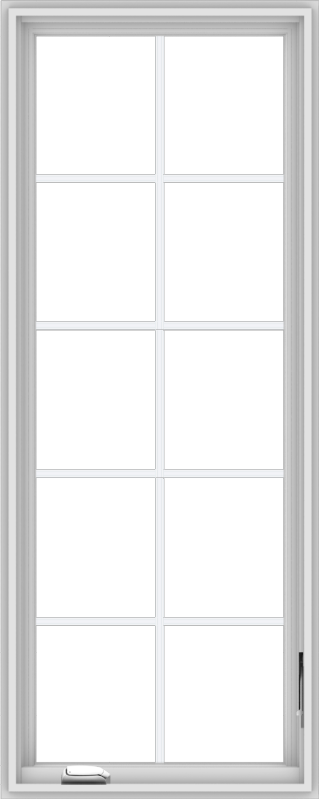WDMA 24x60 (23.5 x 59.5 inch) White Vinyl uPVC Crank out Casement Window with Colonial Grids
