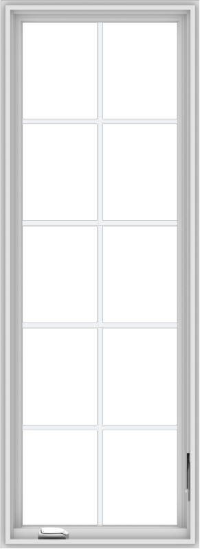 WDMA 24x66 (23.5 x 65.5 inch) White Vinyl uPVC Crank out Casement Window with Colonial Grids