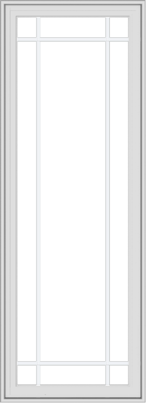 WDMA 24x66 (23.5 x 65.5 inch) White Vinyl uPVC Crank out Casement Window with Prairie Grilles