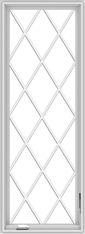WDMA 24x66 (23.5 x 65.5 inch) White Vinyl uPVC Crank out Casement Window without Grids with Diamond Grills