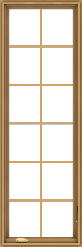 WDMA 24x72 (23.5 x 71.5 inch) Pine Wood Dark Grey Aluminum Crank out Casement Window with Colonial Grids