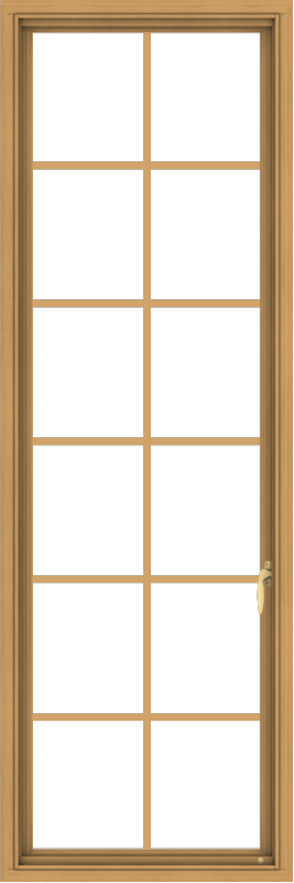 WDMA 24x72 (23.5 x 71.5 inch) Pine Wood Light Grey Aluminum Push out Casement Window with Colonial Grids