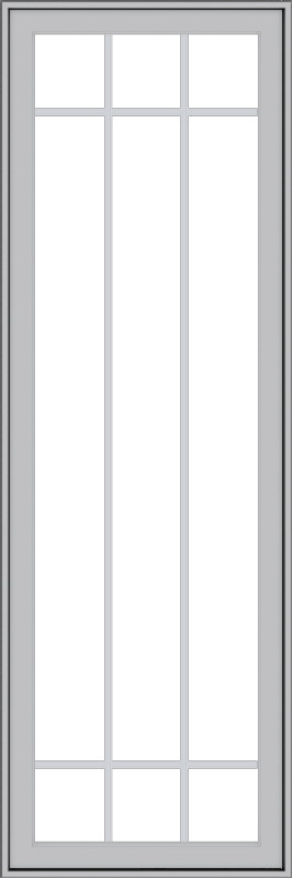 WDMA 24x72 (23.5 x 71.5 inch) Pine Wood Light Grey Aluminum Push out Casement Window with Prairie Grilles