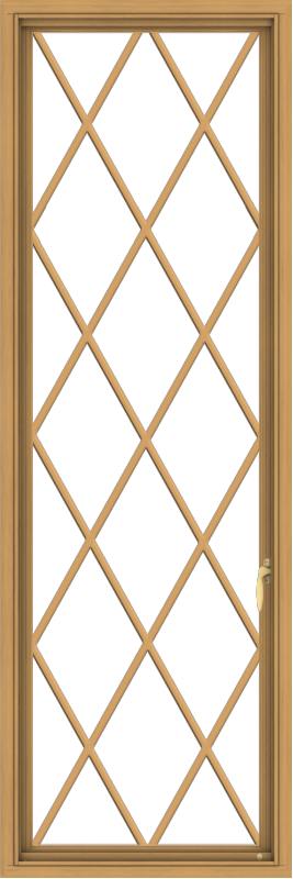 WDMA 24x72 (23.5 x 71.5 inch) Pine Wood Light Grey Aluminum Push out Casement Window without Grids with Diamond Grills
