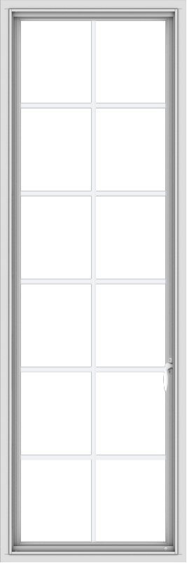 WDMA 24x72 (23.5 x 71.5 inch) White Vinyl uPVC Push out Casement Window with Colonial Grids
