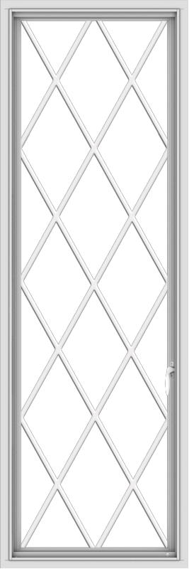 WDMA 24x72 (23.5 x 71.5 inch) White Vinyl uPVC Push out Casement Window without Grids with Diamond Grills