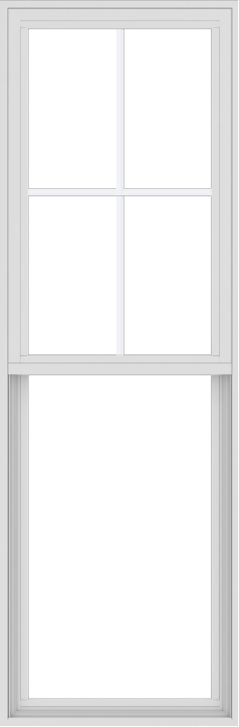 WDMA 24x72 (23.5 x 71.5 inch) Vinyl uPVC White Single Hung Double Hung Window with Top Colonial Grids Exterior