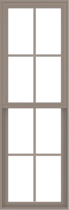 WDMA 24x72 (23.5 x 71.5 inch) Vinyl uPVC Brown Single Hung Double Hung Window with Colonial Grids Exterior