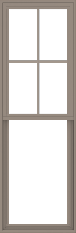 WDMA 24x72 (23.5 x 71.5 inch) Vinyl uPVC Brown Single Hung Double Hung Window with Top Colonial Grids Exterior