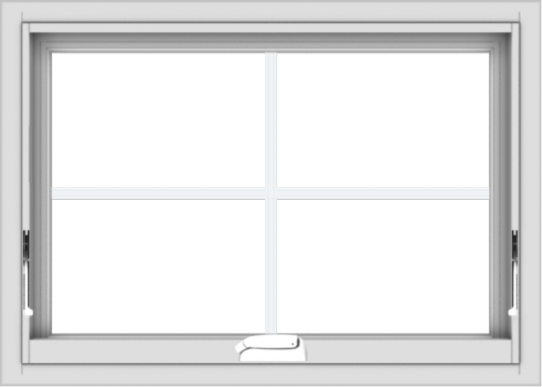WDMA 28x20 (27.5 x 19.5 inch) White Vinyl uPVC Crank out Awning Window with Colonial Grids Interior