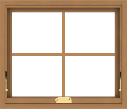 WDMA 28x24 (27.5 x 23.5 inch) Oak Wood Dark Brown Bronze Aluminum Crank out Awning Window with Colonial Grids Interior