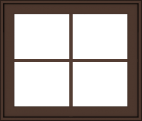 WDMA 28x24 (27.5 x 23.5 inch) Oak Wood Dark Brown Bronze Aluminum Crank out Awning Window with Colonial Grids Exterior