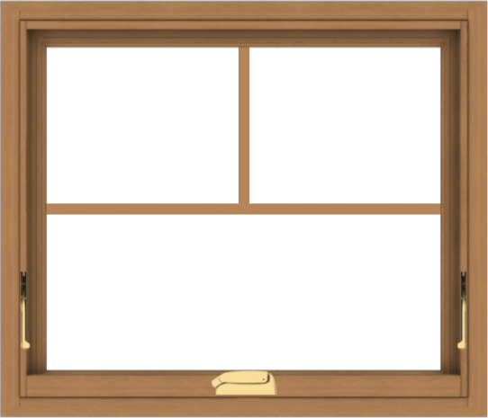 WDMA 28x24 (27.5 x 23.5 inch) Oak Wood Dark Brown Bronze Aluminum Crank out Awning Window with Fractional Grilles