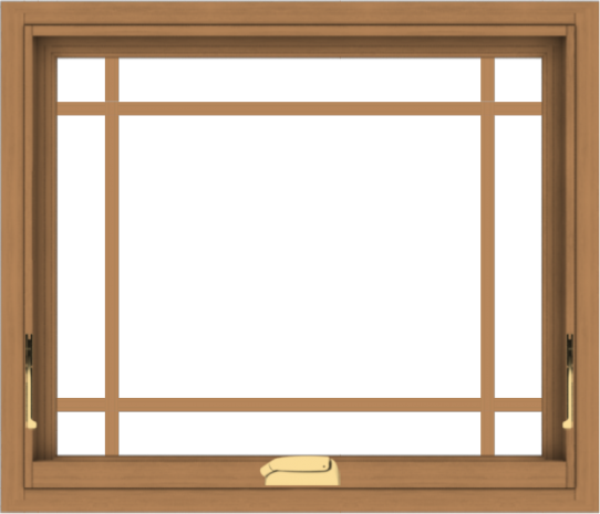 WDMA 28x24 (27.5 x 23.5 inch) Oak Wood Dark Brown Bronze Aluminum Crank out Awning Window with Prairie Grilles