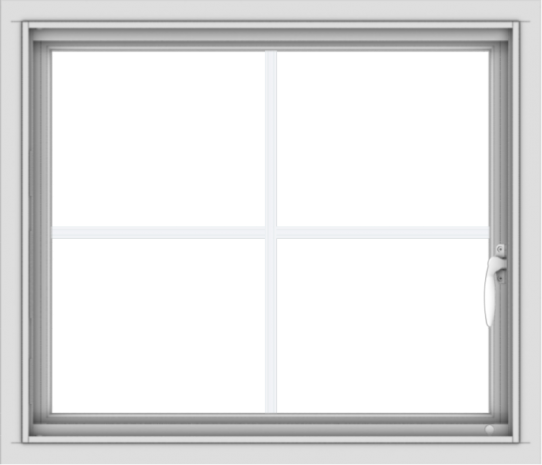 WDMA 28x24 (27.5 x 23.5 inch) Vinyl uPVC White Push out Casement Window with Colonial Grids