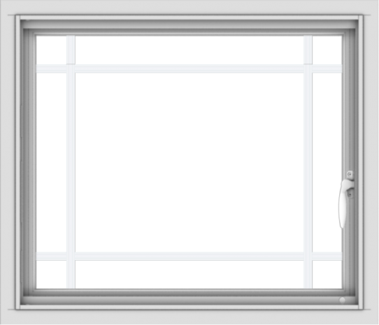 WDMA 28x24 (27.5 x 23.5 inch) Vinyl uPVC White Push out Casement Window with Prairie Grilles