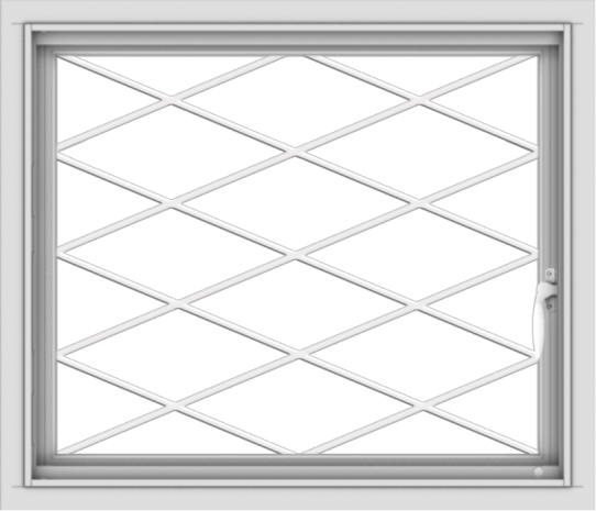 WDMA 28x24 (27.5 x 23.5 inch) Vinyl uPVC White Push out Casement Window without Grids with Diamond Grills