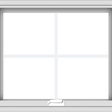 WDMA 28x24 (27.5 x 23.5 inch) White Vinyl uPVC Crank out Awning Window with Colonial Grids Interior