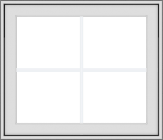 WDMA 28x24 (27.5 x 23.5 inch) White Vinyl uPVC Crank out Awning Window with Colonial Grids Exterior