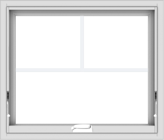 WDMA 28x24 (27.5 x 23.5 inch) White Vinyl uPVC Crank out Awning Window with Fractional Grilles