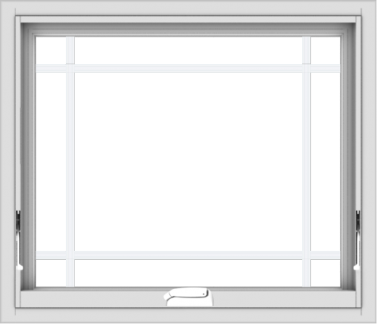 WDMA 28x24 (27.5 x 23.5 inch) White Vinyl uPVC Crank out Awning Window with Prairie Grilles