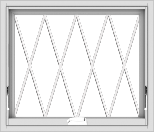 WDMA 28x24 (27.5 x 23.5 inch) White Vinyl uPVC Crank out Awning Window without Grids with Diamond Grills