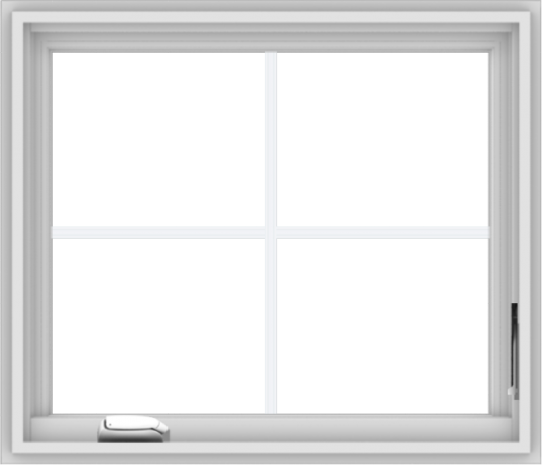 WDMA 28x24 (27.5 x 23.5 inch) White Vinyl uPVC Crank out Casement Window with Colonial Grids