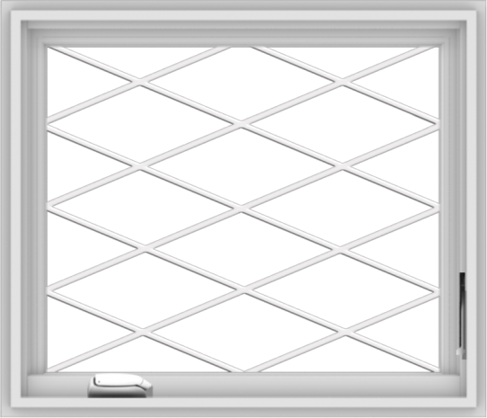 WDMA 28x24 (27.5 x 23.5 inch) White Vinyl uPVC Crank out Casement Window without Grids with Diamond Grills